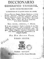 Титульный лист испанской энциклопедии Diccionario Geografico Universal, 1795