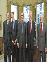 А это – последняя пятёрка иудейских клоунов, которых сажали в Белый Дом, чтобы они делали вид, что чем-то руководят и управляют…