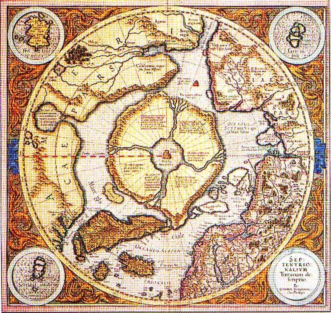 Древняя карта нашей Земли с очертаниями Северного материка - Даарии...
