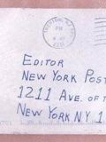 Конверт с порошком для газеты Нью-Йорк Пост...