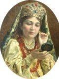 Константин Маковский (1839-1915) Девушка смотрящаяся в зеркало