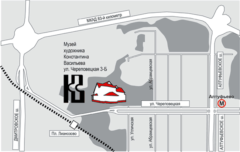Схема проезда к музею Константина Васильева в Москве