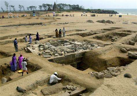 Excavation site on beach at Mahabalipuram