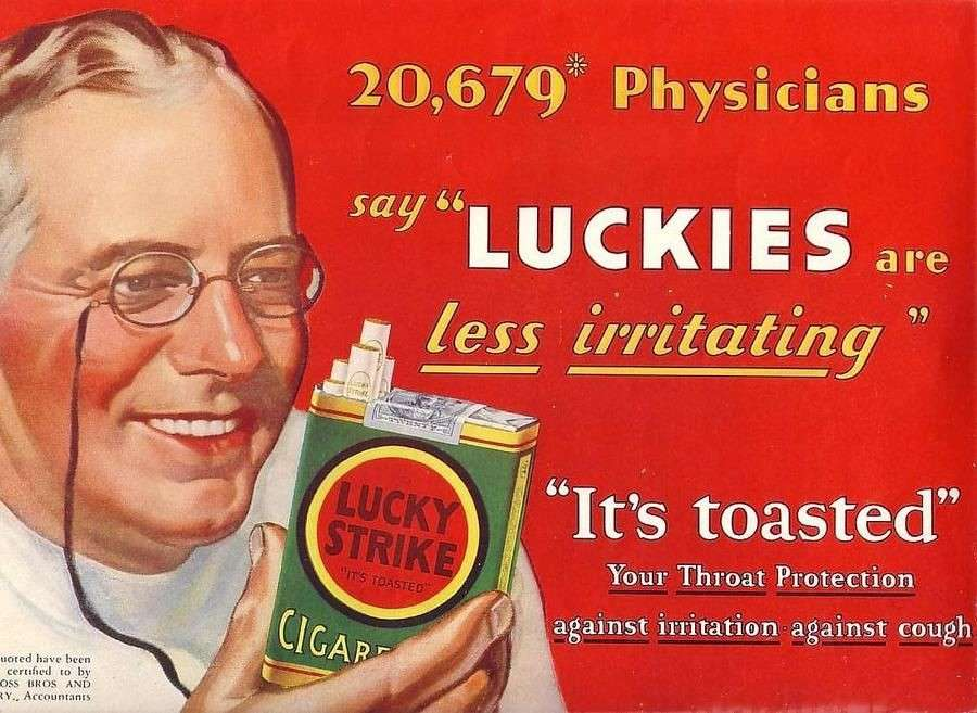 В 20 веке доктора рекламировали сигареты, а люди им верили