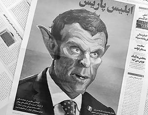 Карикатура на Макрона на передовице иранской газеты Vatan-e-Emrooz («Родина сегодня») с заголовком «Парижский иблис» (дьявол)