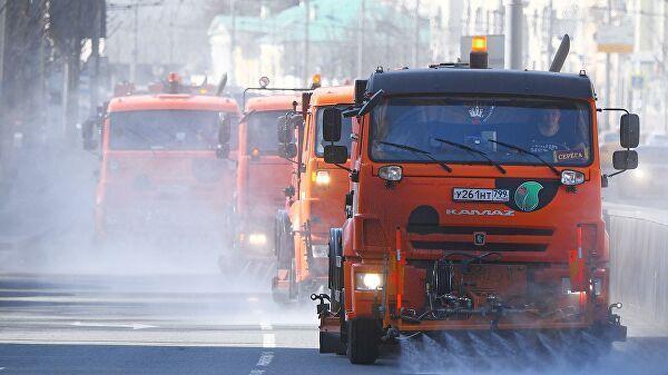 Промывка дорог и тротуаров с использованием специального моющего средства