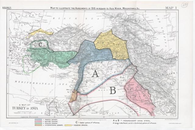 Соглашение Сайкса-Пико. Оригинал карты. 1916