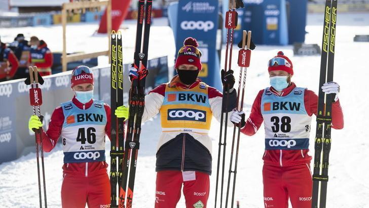 Российские лыжники заняли весь пьедестал на этапе Кубка мира