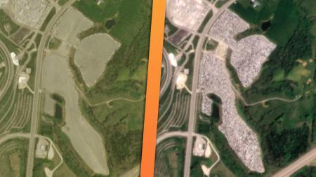 Дефицит полупроводников в США: 2.5 километровое пятно недоделанных автомобилей видно из космоса