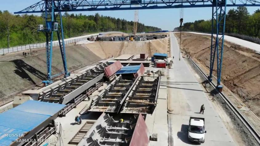 Ход строительства нового моста через Волгу в Самарской области