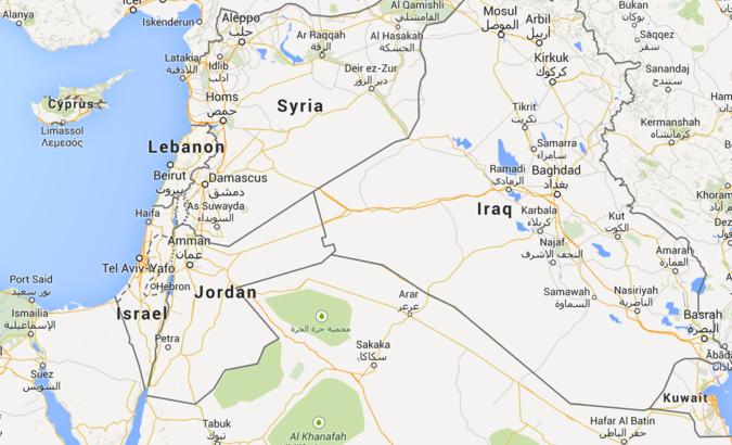 Карта региона: Израиль - Иордания - Ливан - Сирия - Ирак