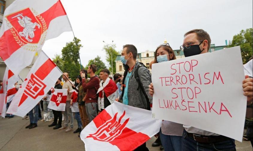 Белорусские противники режима Лукашенко протестуют в Киеве