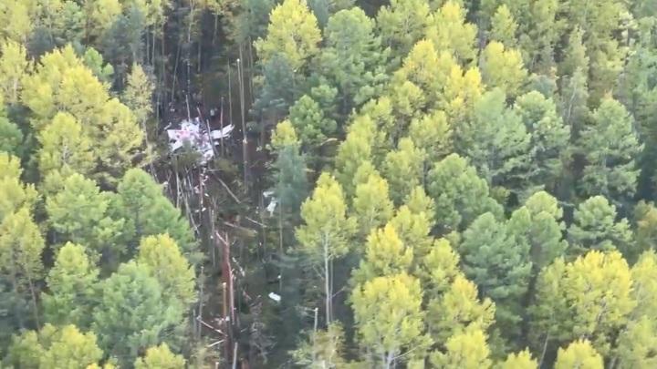 Место крушения L-410 в Иркутской области сняли на видео с воздуха