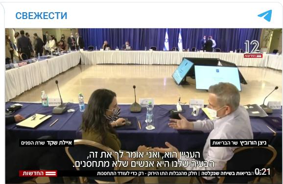 Короновирус. Израиль – Министр Здравоохранения по неосторожности признал фейковость антиковидных мер