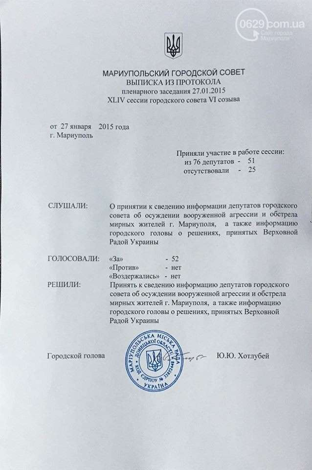 Протокол заседания Мариупольского горсовета