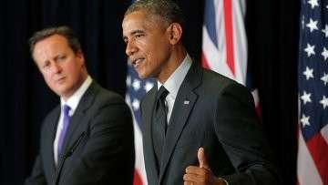 Президент США Барак Обама и премьер-министр Великобритании Дэвид Кэмерон участие в пресс-конференции
