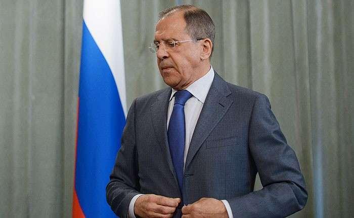 Министр иностранных дел РФ Сергей Лавров на пресс-конференции.