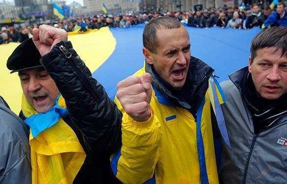На Западной Украине люди дерутся за продукты. ВИДЕО. украина митинг киев