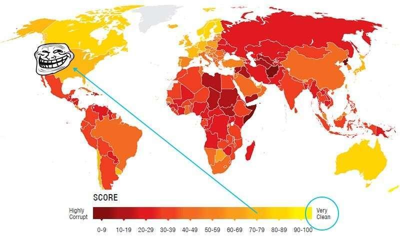 Карта коррупции по версии Transparency International