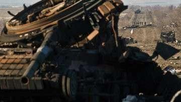 Разрушенная военная техника украинской армии в окрестностях Дебальцево. Архивное фото