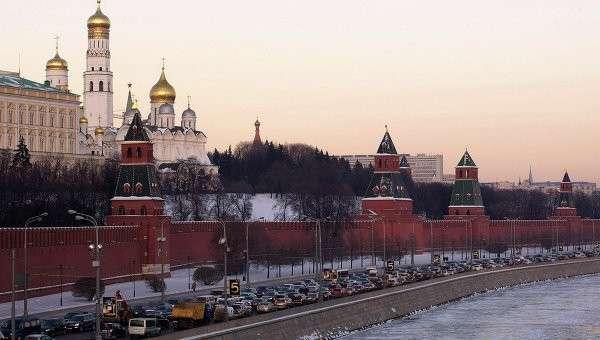 Вид на Московский Кремль зимой