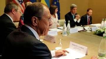 Глава МИД РФ Сергей Лавров на переговорах по урегулированию кризиса на Украине в Женеве. 17 апреля 2014