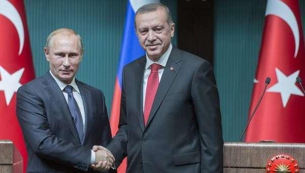 Президент России Владимир Путин и президент Турецкой республики Реджеп Тайип Эрдоган. Архивное фото.