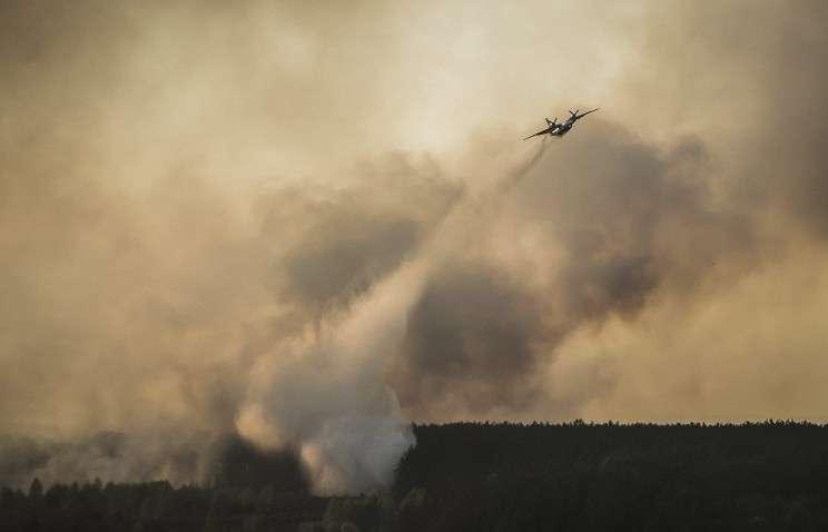 Тушение  пожара в зоне отчуждения Чернобыльской АЭС