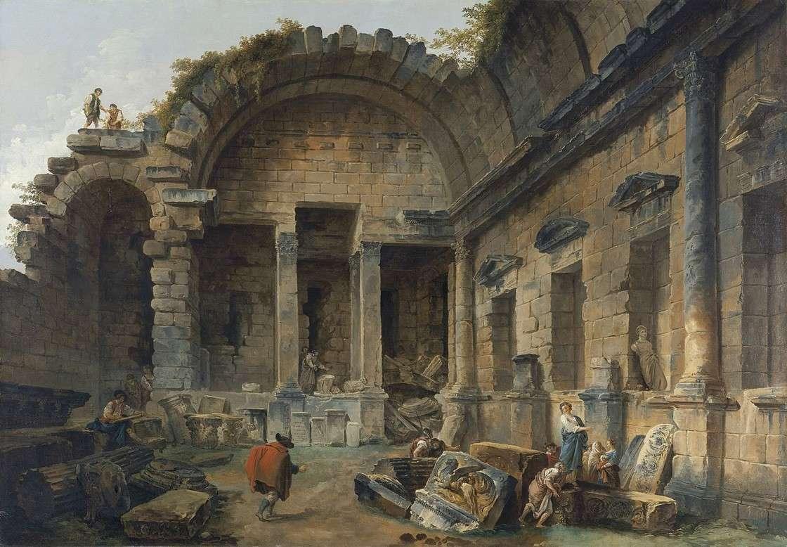 Интерьер храма Дианы в Ниме (1783)