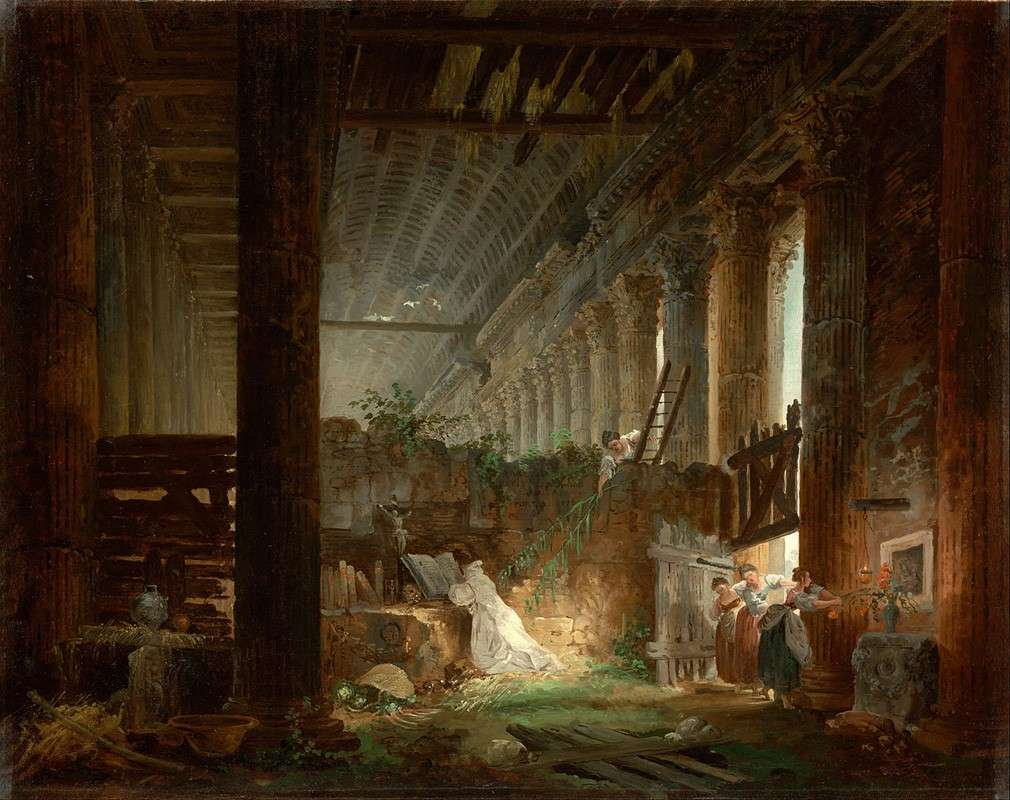 Отшельник молится на руинах римского храма (1760)