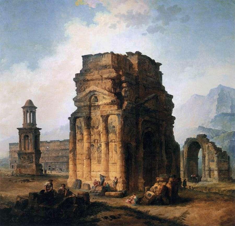 Триумфальная арка и амфитеатр в Оранже (1787)