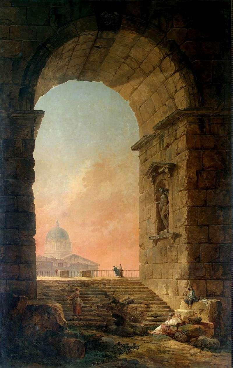 Пейзаж с аркой и куполом собора св. Петра в Риме (1773)