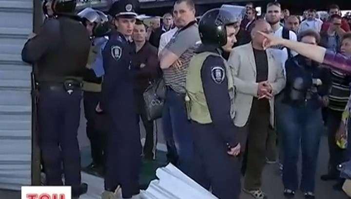 Массовая драка в Киеве с незаконными застройщиками