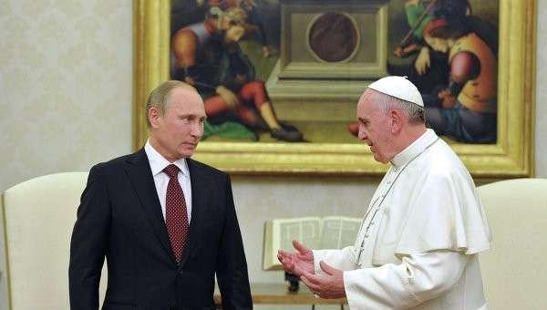 Президент России Владимир Путин с Папой Римским Франциском, архивное фото