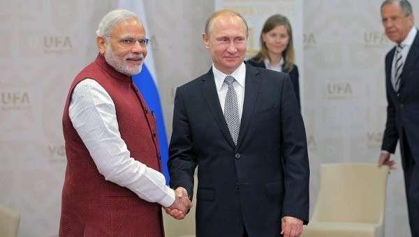 Беседа президента Российской Федерации Владимира Путина с Премьер-министром Индии Нарендрой Моди