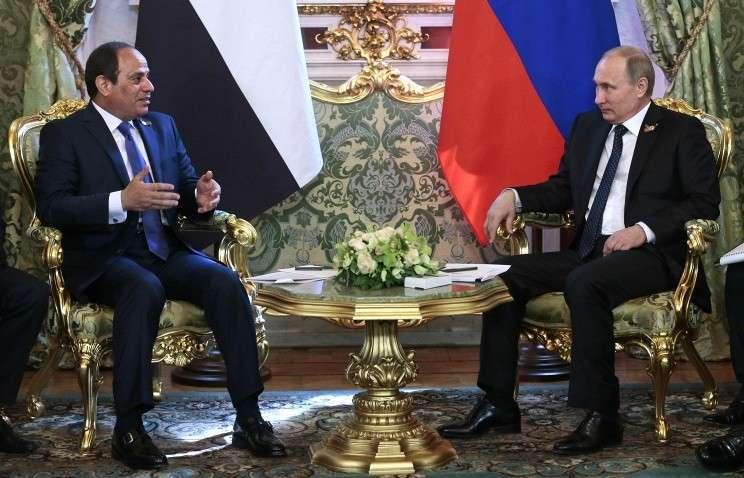 Президент Египта Абдель Фаттахом ас-Сиси и президент России Владимир Путин