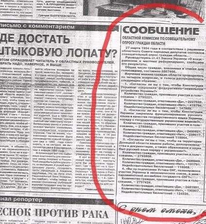 Киев 20 лет обманывает Донбасс: Донецк и Луганск в 1994 году проголосовали за федерализацию и русский язык