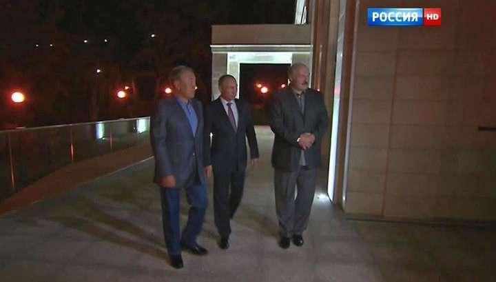 Владимир Путин, Александр Лукашенко и Нурсултан Назарбаев встретились в Сочи