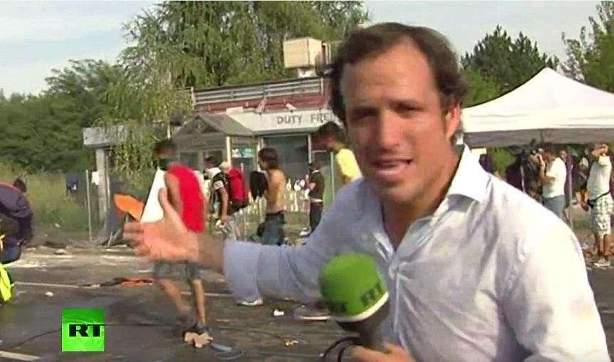 Съёмочная группа RT пострадала при разгоне беженцев на сербско-венгерской границе