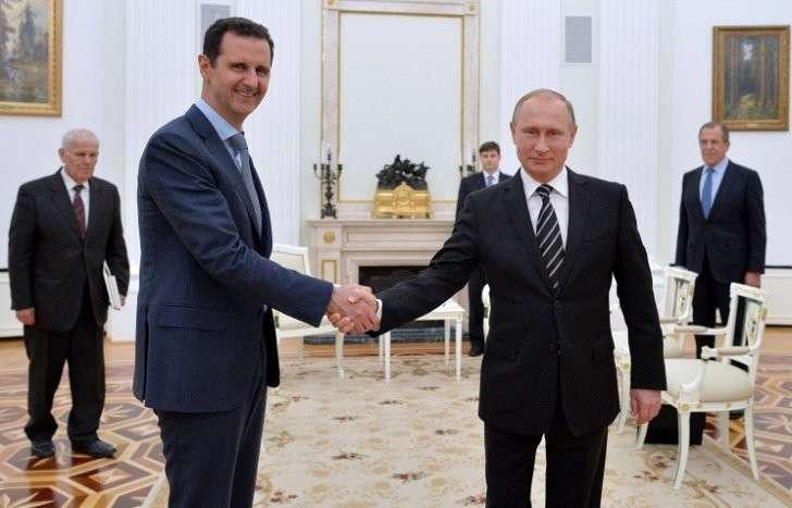 Президент Сирии Башар Асад и президент РФ Владимир Путин (слева направо на первом плане)