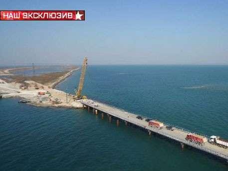 Кадры возведения моста через Керченский пролив с высоты птичьего полёта