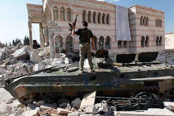 в Сирии, боевик на танке