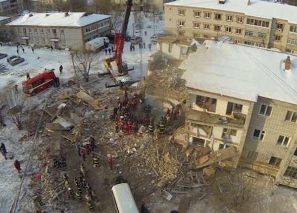 Рухнувший в Хабаровском крае дом сняли с квадрокоптера