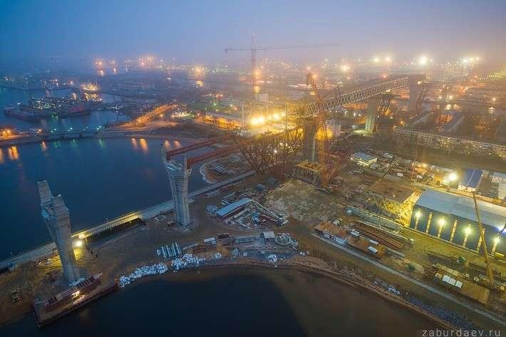 Строительство моста через Морской канал в Питере