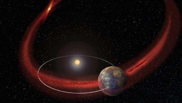 Так художник представил себе Меркурий, пролетающий через хвост кометы Энке
