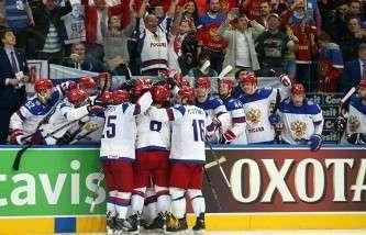 Радость хоккеистов сборной России