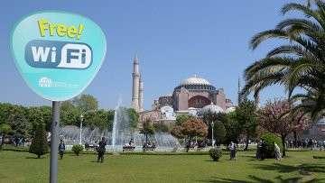 Зона бесплатного Wi-Fi в Стамбуле, Турция. Архивное фото
