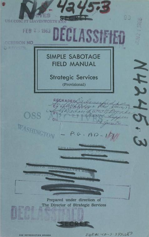 ЦРУ рассекретило Инструкцию по «гражданскому саботажу»