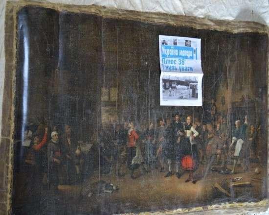 Фото одного из украденных в Нидерландах полотен, на фоне которого скромно притулилась их нацистская газетка