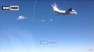 Сброс гуманитарного груза в р-не Дейр-эз-Зор в Сирии с помощью российских парашютных систем
